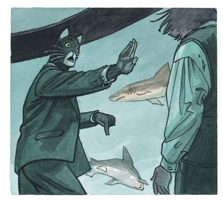 Blacksad gestures to Liebber to stay here