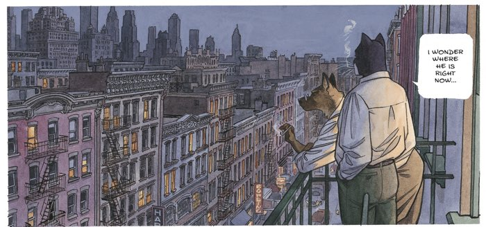 Beautiful wide panel of Blacksad looking out on the city