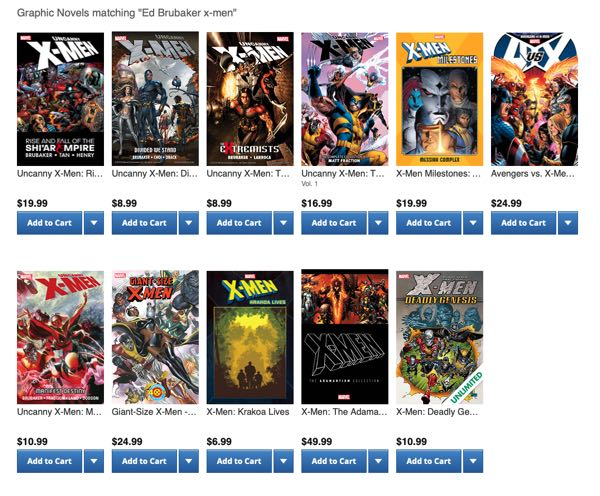 The collected editions of Ed Brubaker's X-Men work on Comixology