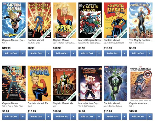 The first 12 results of a search on Captain Marvel 1 returns a LOT of results
