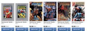 Screenshot of a row of collected editions on sale at Comixology