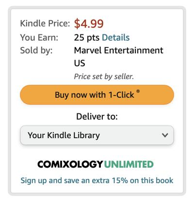 Amazon Comics is currently 1-Click purchasing only. Here's what the button looks like