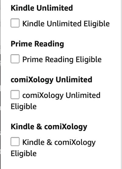 The Amazon sidebar that outlines all the ways to read comics on Amazon