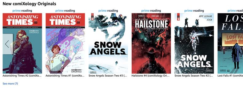 Comixology's first appearance on Amazon