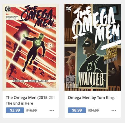 Two different editions of Tom King's The Omega Men at two different price points on comixology