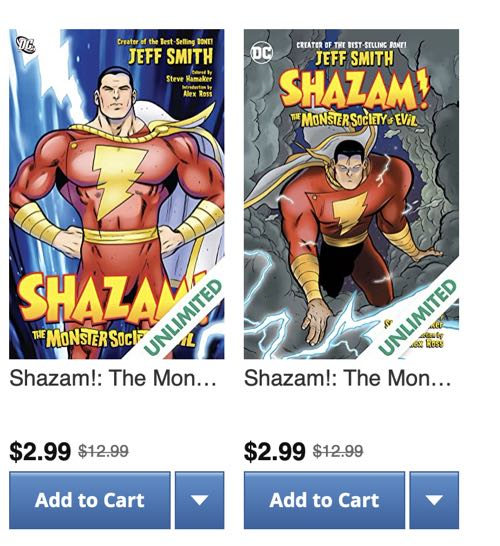 Jeff Smith's Shazam collection and its own reissue are both available with different covers on Comixology