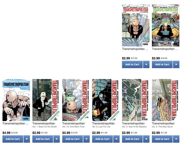 Covers of Transmetropolitan collections on Comixology