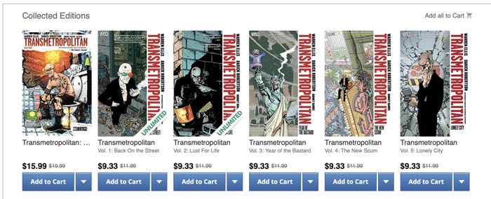 The Transmetropolitan lineup of trades in Comixology includes an Omnibus