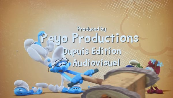The Smurfs opening credits with a bit of ben day pattern