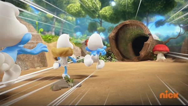 Speedlines are used as the Smurfs run into an empty tree trunk