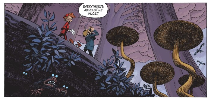 Spirou and Fantasio explore a new and strange world, overrun by trees and creatures