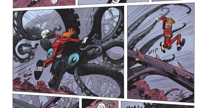 Spirou fights a giant squid looking monster